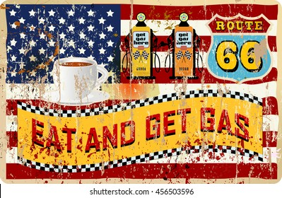 route sixty six gas and diner sign, retro style, vector illustration
