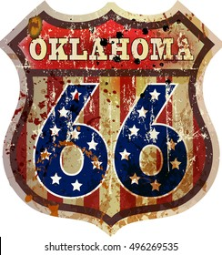 route sixty six road sign, Oklahoma, retro style, vector