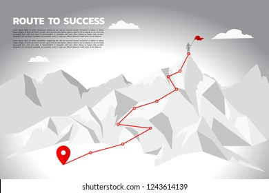 route to success. silhouette of businessman with the red flag standing on the top of mountain. Concept of Goal, Mission, Vision, Success in Career path.