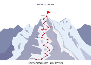 Route to the Top / Career growth / Goal achieving concept - Vector infographic