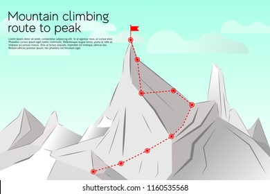 Route to the top, concept business success. Vector illustration mountain climbing route to peak. Path, route, achievement of goals, career growth, ascent, route to the top of mountain, success