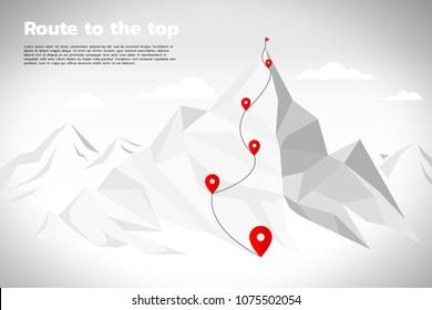 山頂へのルート:ゴール、ミッション、ビジョン、キャリアパス、ベクターコンセプトポリゴンのドット接続の線種のコンセプト