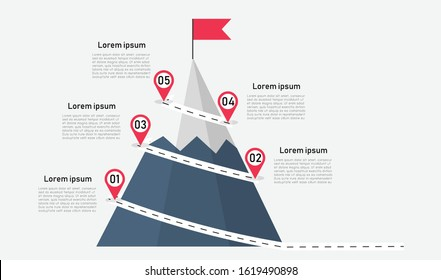 Route to the top of mountain infographic on white background. business journey path in progress to success. Mountain with red flag with 5 step. can be used for process, presentation, step diagram.