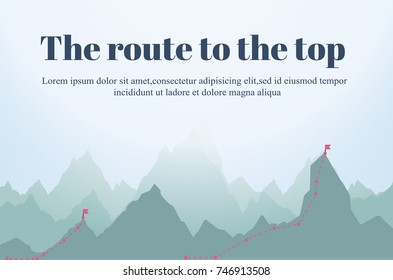 Route to the Top.Career growth.Goal achieving concept.Vector illustration.
