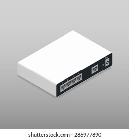 Router, the back side, isometric icon vector graphic illustration