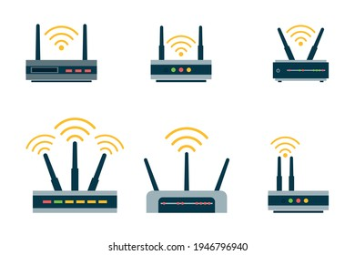 Router flat icon. Vector router. Router and signal symbol. Wi-Fi router.