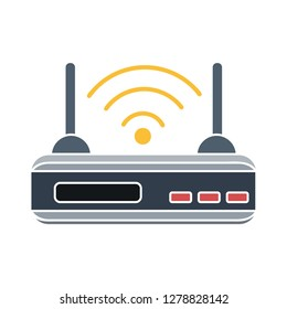 router flat icon-modem sign-wireless illustration-network illustration-adsl isolated-wifi vector
