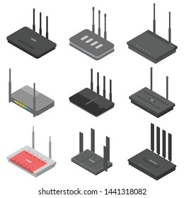 Router icons set. Isometric set of router vector icons for web design isolated on white background