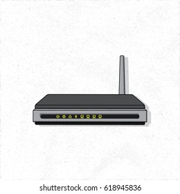 Router with Transmitting Antenna Wireless Fidelity Electronic Device Isolated Illustration - Black and Grey Elements on White Rough Paper Background - Vector Technical Colored Sketch Graphic Design