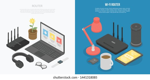 Router wireless banner set. Isometric set of router wireless vector banner for web design