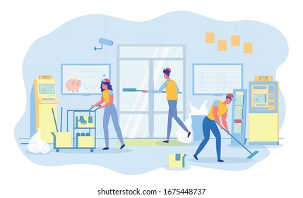 Routine Customized Cleaning Services in Bank Office. Professional Team Working. Woman Pushing Cleaning and Sanitizing Cart. Man Washing Entrance Door. His Colleague Mopping Floor. Bags with Garbage.