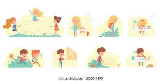 Routine of girl and boy in school set. Daily energy level of little kids vector illustration. Active children running and playing, studying, going home exhausted, homework on low charge.