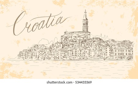Rovinj View. EPS 10 Vector Sketch. Medieval Mediterranean Town in Croatia, Europe. Popular Tourist Resort of Istria at Adriatic Sea. Vintage Styled Illustration.