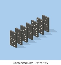 Row of black dominoes on blue background. Concept of Domino effect. Vector illustration in flat isometric stile