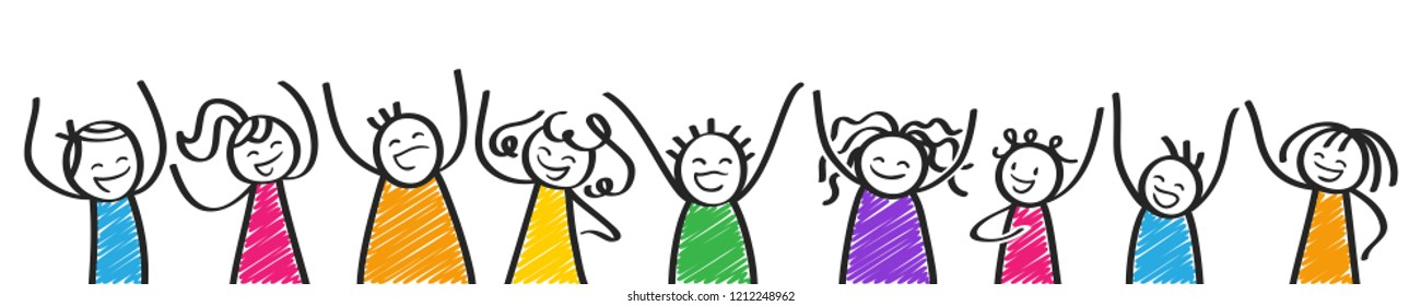 Row of cheering colorful stick people, banner, happy kids, men and women, black and white stick figures isolated on white background
