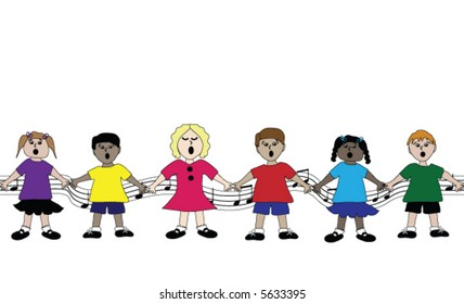 Row of children singing.  This is a repeating, seamless border pattern