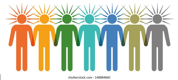 Row of colorfull stick figures standing together and holding hands
