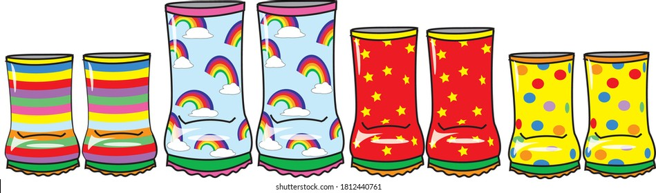 A row of colourful wellies