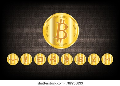 Row of cryptocurrency gold coin. Such as Bitcoin,Ethereum,Monero,Zcash,Bytecoin,Ripple,Dash,Litecoin,Gnosis Digital money business concept. Vector illustration design. EPS10