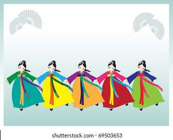 A row of cute Korean girls in national dress. Space for your text. EPS10 vector format.