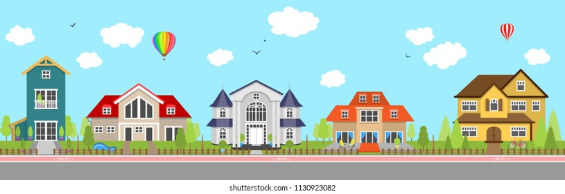 Row of different colorful family houses.  House home exterior.
