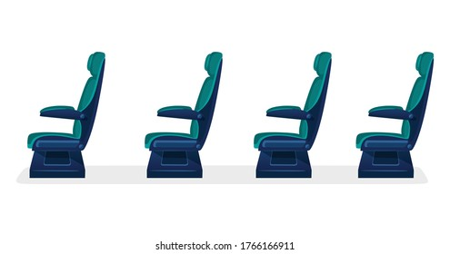 Row of empty passenger seats for public transport on white background. Aisle with business class, first class or economy seats concept for airplane, train or bus. blue color.