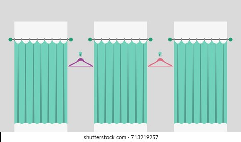 Row of fitting rooms with curtains in a fashion shop. Cabins for trying on clothes in a shopping mall. Vector illustration.