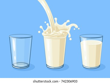 Row of glasses is filling with milk. White milky flow and splash in full glass of milk. Vector cartoon illustration on blue.
