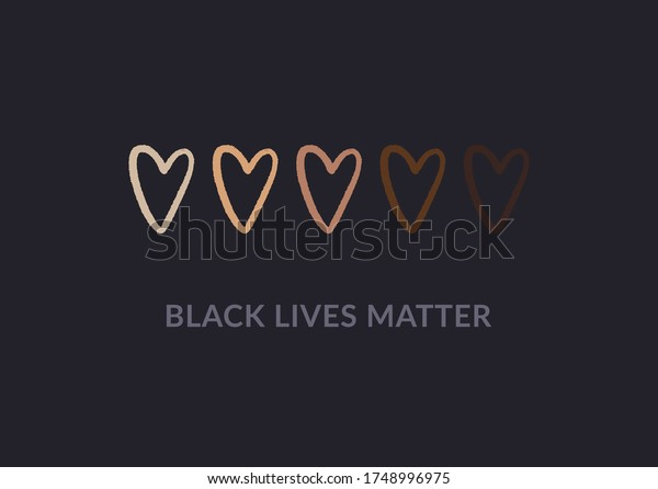 Row of hand drawn hearts colored from white to black with Black lives matter slogan. Anti racism and racial equality and tolerance banner. Vector illustration, social media template, dark background.