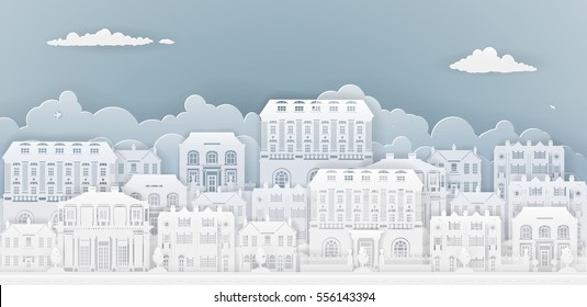Row of houses and buildings in silhouette in old Georgian or Victorian styles on a smart or posh street