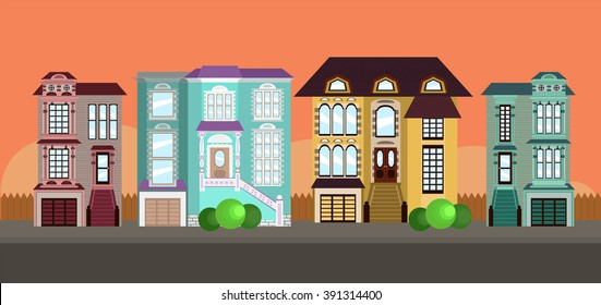Row of houses in town