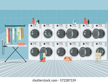 A row of industrial washing machines in laundry shop, Laundry service banner concept, laundry room with facilities for washing clothes, vector illustration.