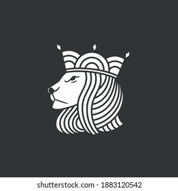 a row of lines forming a lion's head wearing a crown