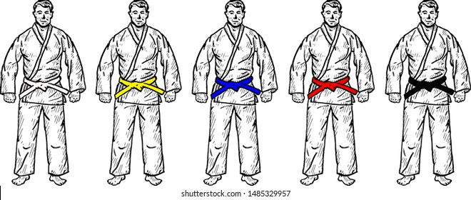 A row of man in martial art uniform with graded belt color. Hand drawn vector illustration.