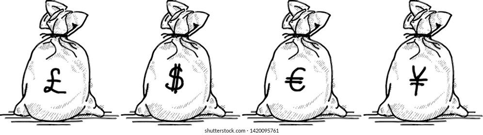 A row of money bag currency sign of the British pound, US dollar, Euro and Renminbi. Hand drawn vector illustration.