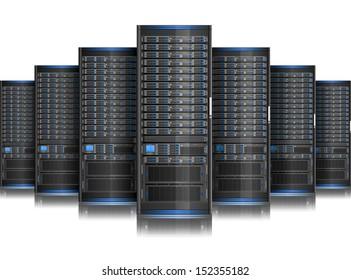 Row of network servers.