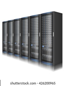 Row of network servers, illustration of data center, or super computer, EPS 10 contains transparency