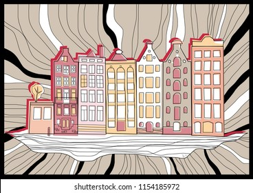 Row of old, historical, typical Amsterdam houses vector illustration.