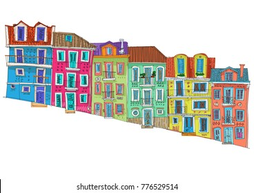 Row of old houses on a steep street. Cartoon. Facades.