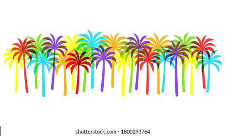 Row of overlapping palm tree silhouettes in bright rainbow colors