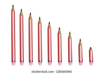 row of pencils getting smaller and smaller vector illustration EPS10