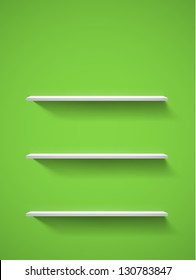 Row of realistic white empty bookshelves on a green wall. EPS10 vector background.