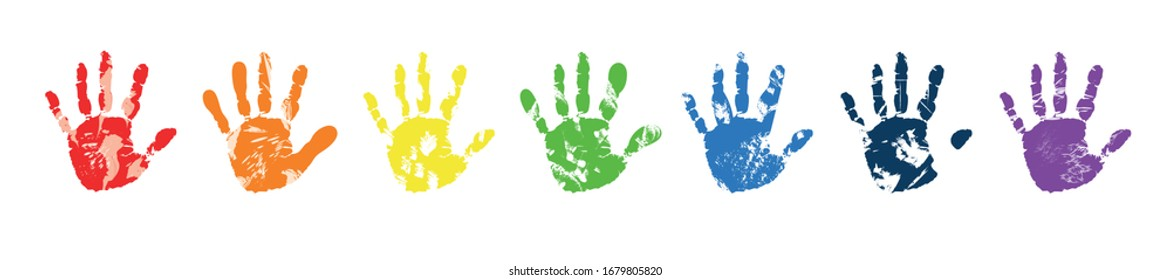 Row of seven different rainbow colored palm prints isolated on white, vector illustration