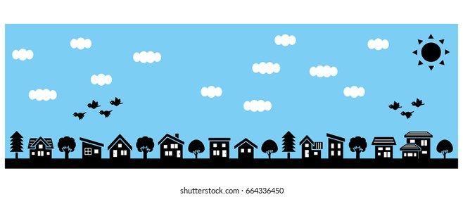 row of a simple house and tree - lateral length and silhouette - sky and bird