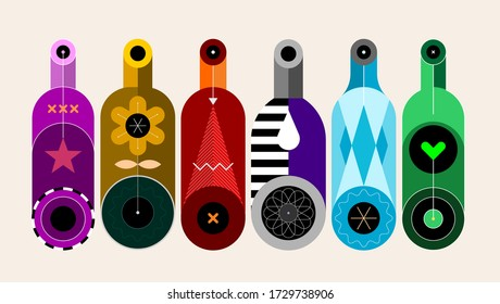 A row of six different colored bottles on a light background, decorative modern design, vector illustration.
