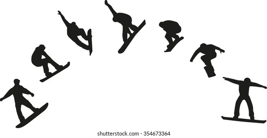 Row of snowboard silhouettes jumping
