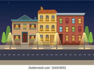 The row of three houses at night. Vintage houses. City background