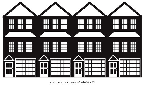 Row of three level townhouse with tandem two car parking garage black and white outline vector illustration