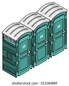 A row of three portable toilets for outdoor events and construction sites.