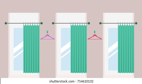 Row of vacant fitting rooms with open curtains and mirrors inside in a fashion shop. Cabins for trying on clothes in a shopping mall. Vector illustration.